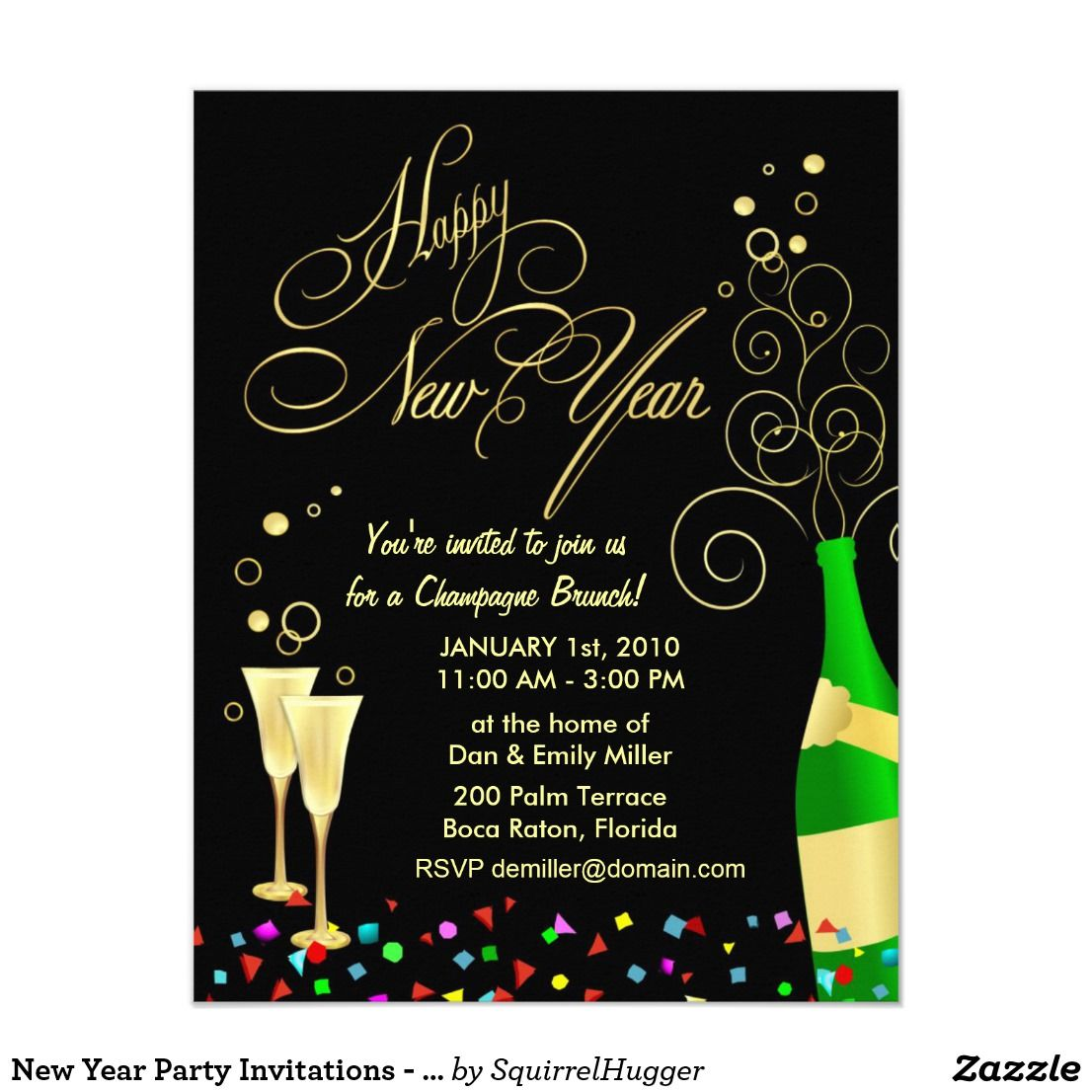New Year Party Invitations Champagne Brunch Zazzle Com Party Invitations New Years Eve Invitations Champagne Brunch