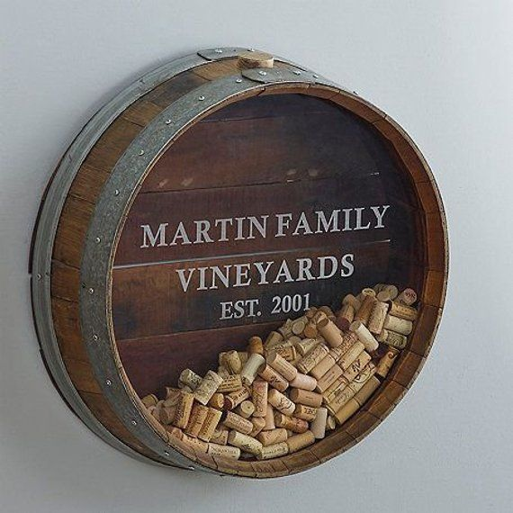 Photo of Wall Mounted Wine Barrel Cork Display – Kala – Made from reclaimed CA wine barrel – 100% Recycled & Free Shipping (US Only) Custom Engraving