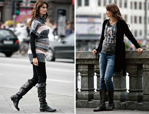 botas y buzos colores moda para embarazadas mujeres | Embarazo ...