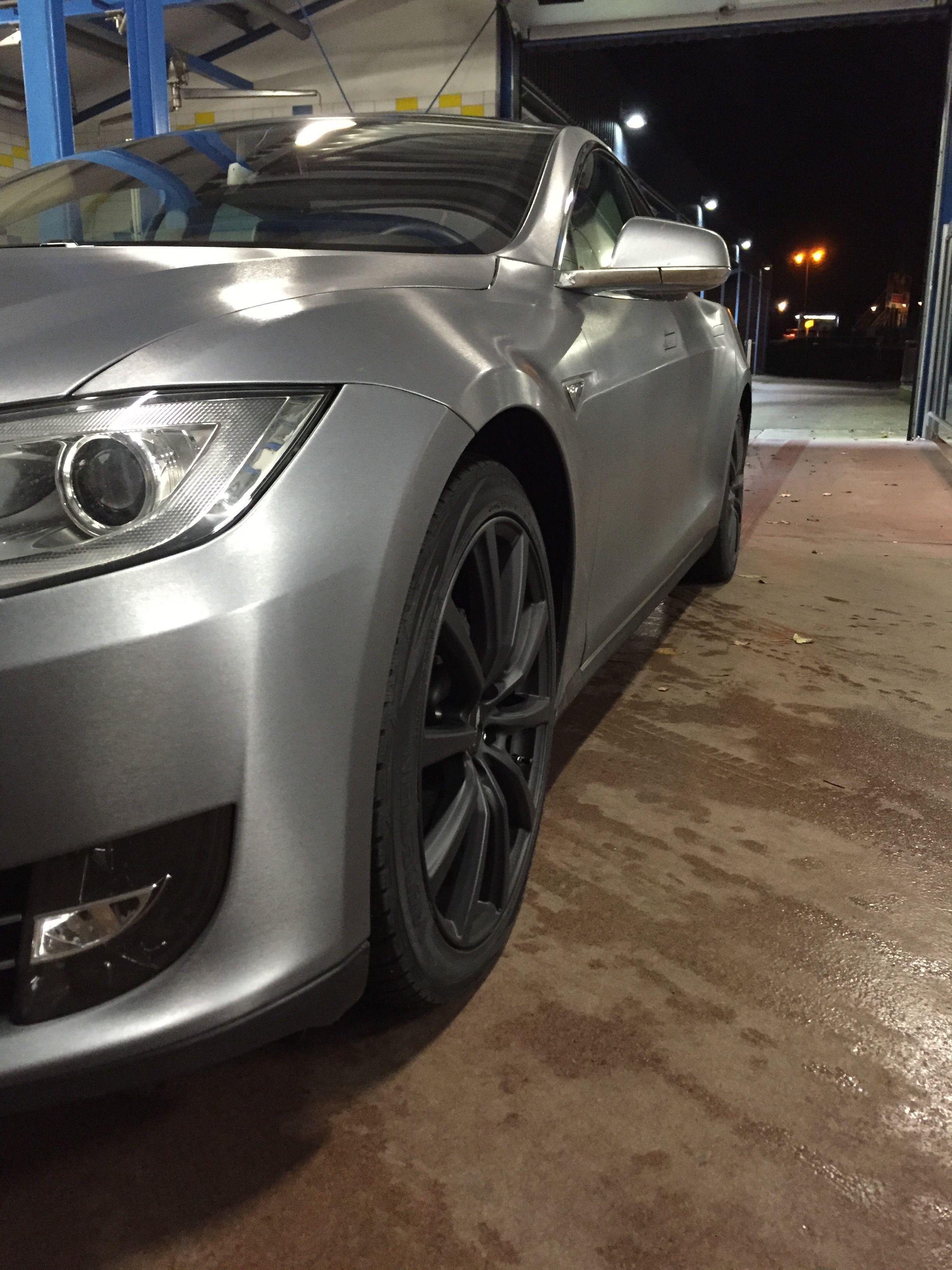 Tesla Model S Brushed Aluminium Wrap Car Wrap Tesla Model S Brushed Aluminum