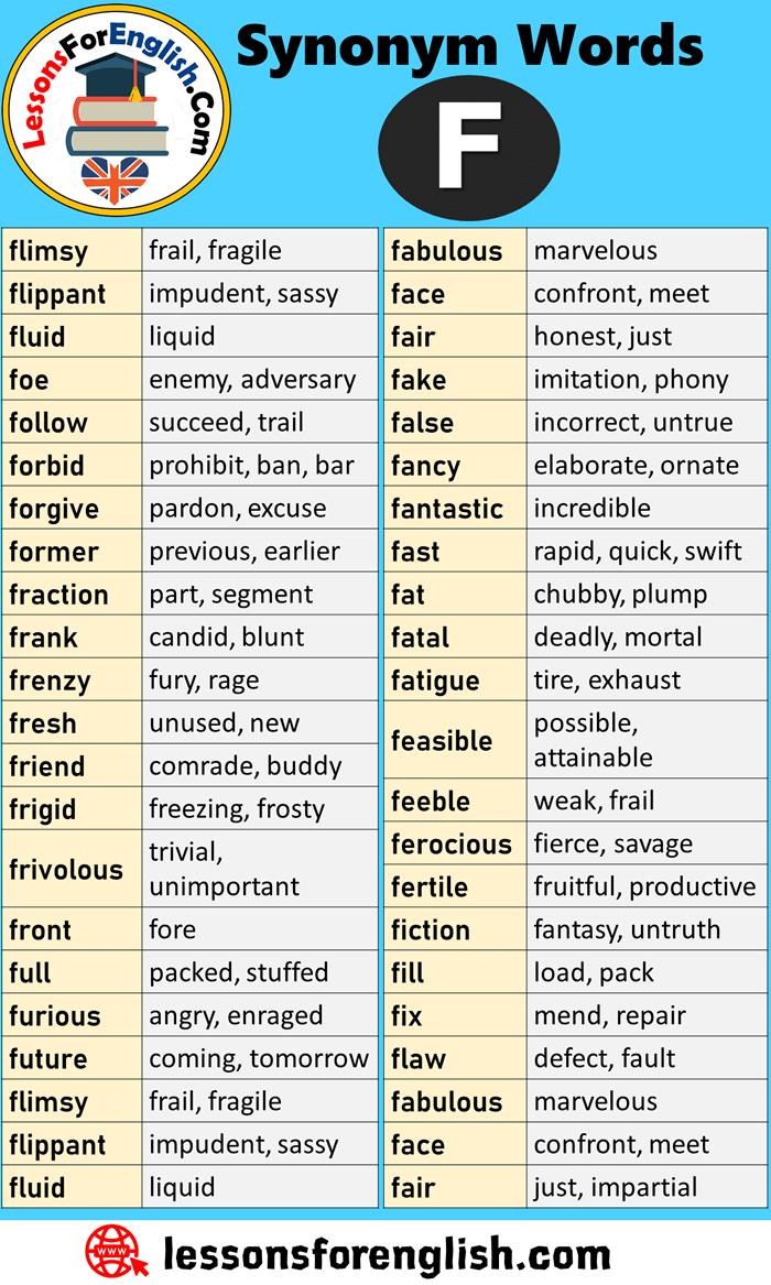 English Synonym Words Starting With F Flimsy Frail Fragile Flippant Impudent Sassy Fluid Liquid Foe Learn English English Vocabulary English Vocabulary Words