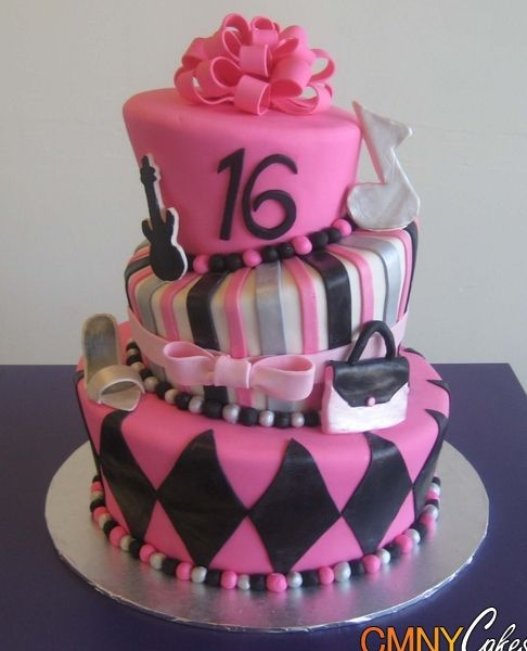 Pink And Black Sweet 16 Cake Birthday 16th Rainbow