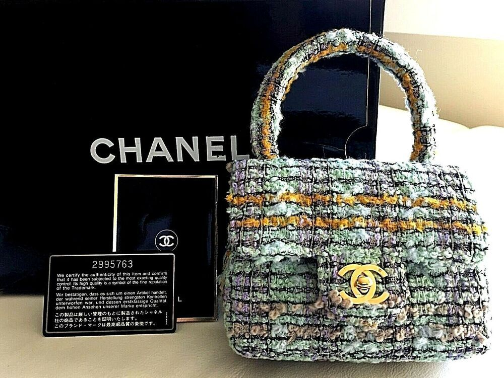 Authentic Chanel Tweed Mini Kelly Flap Bag Vintage Beige Purses Flap Bag Chanel Shoulder Bag