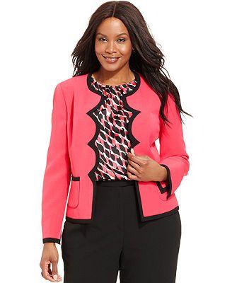 cf25887e57b1 Kasper Plus Size Scallop-Trim Blazer @ Macy's   Career Woman Curve ...
