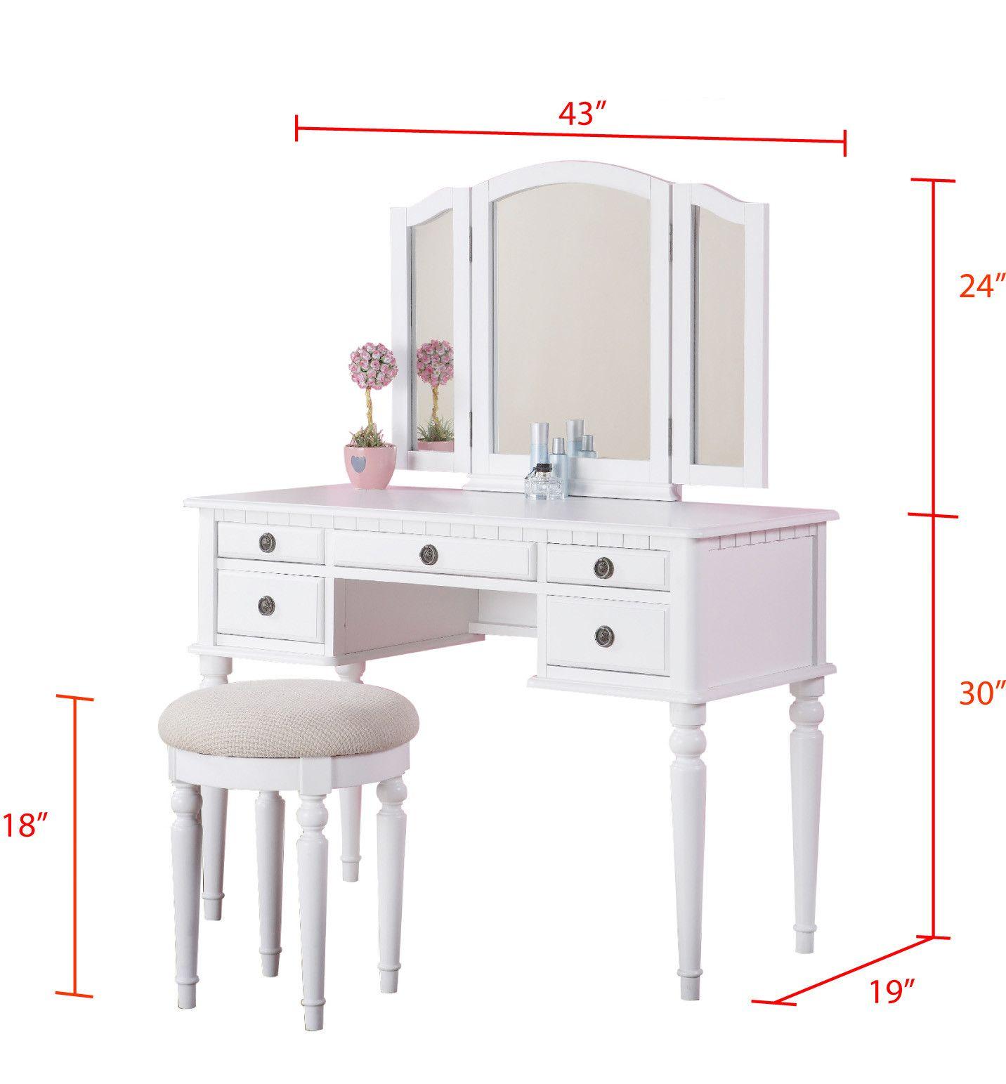 Vanity With Measurements White Vanity Set Vanity Set Bedroom Vanity