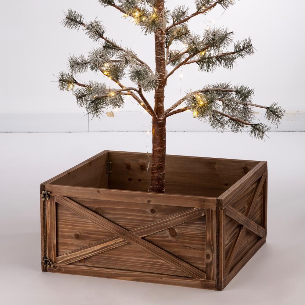 Glitzhome 22 09 In L Natural Wooden Tree Collar Kd 1106203434 The Home Depot Tree Collar Tree Collar Christmas Christmas Tree Box
