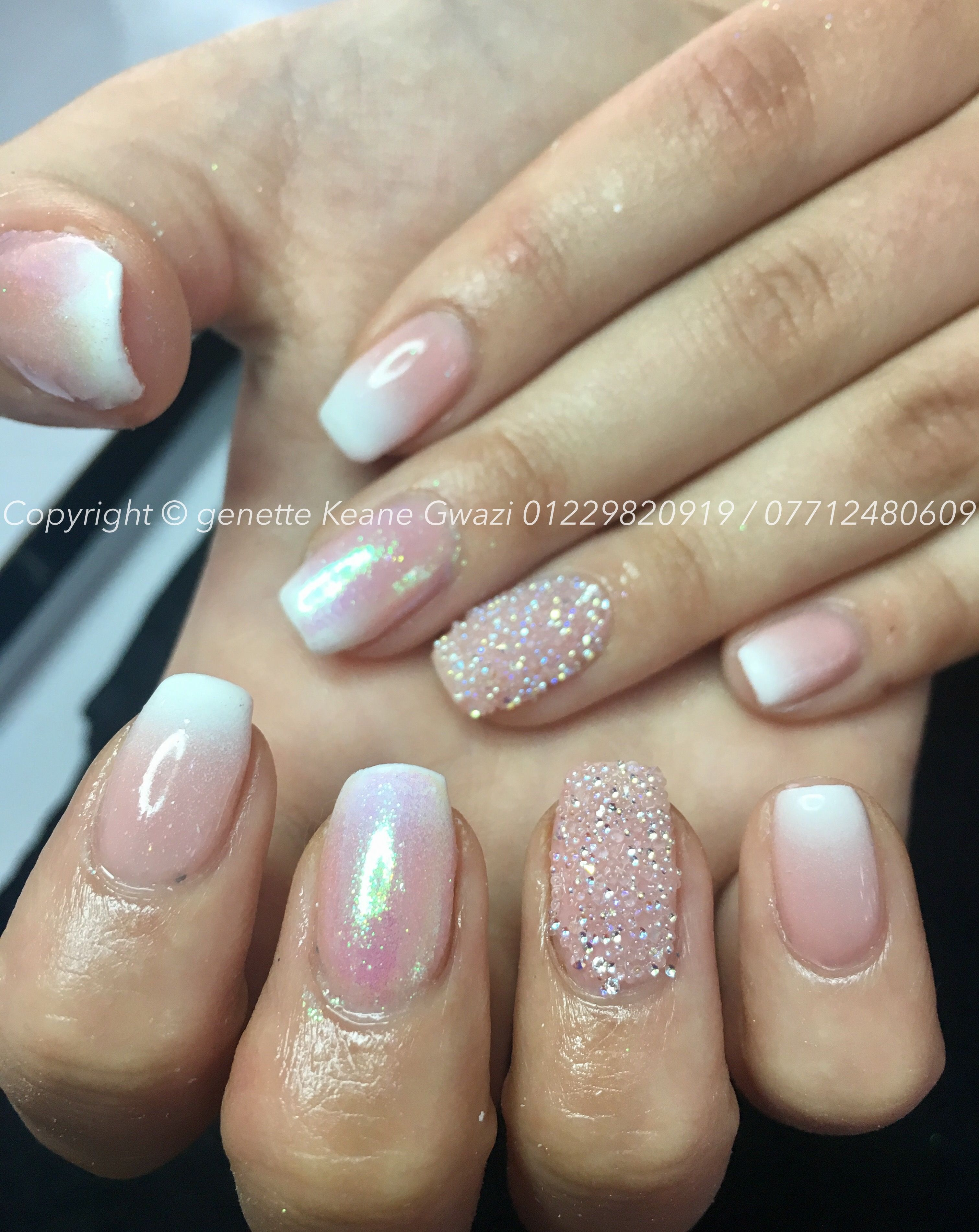 Ombre nails acrylic opaque pink & white with Swarovski crystals by ...