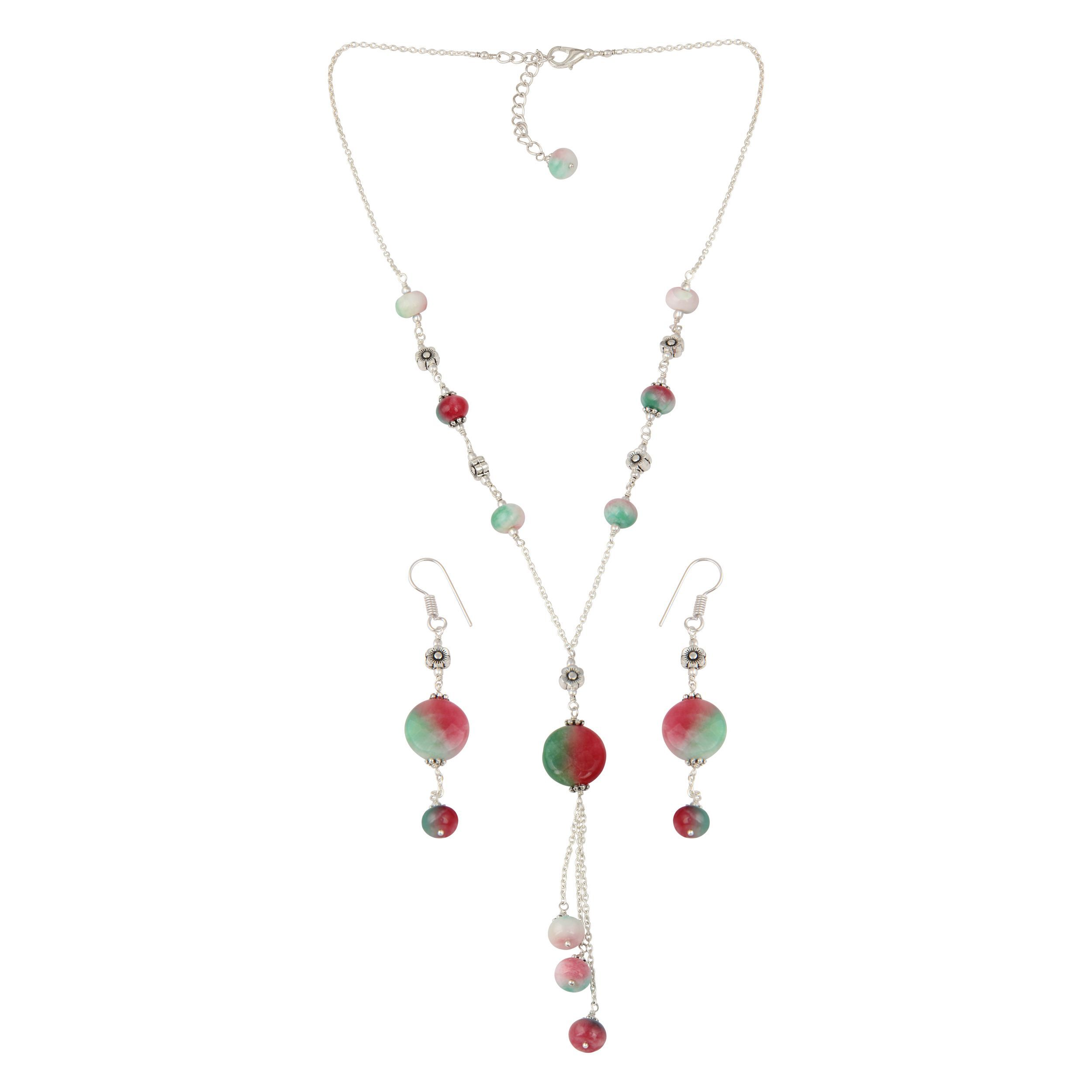 Pearlz ocean mystical dyed quartzite beaded necklace and earrings