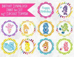 Printable Care Bear Cupcake Toppers -Download Print Care Bear Cake Toppers Care Bear Birthday Decoration Care Bear Cupcake Toppers - Digital #carebearcostume These adorable cupcake toppers make a great addition to your Care Bear party! Just open the file, print and cut! INSTANT DOWNLOAD Your printable files will be available to download immediately after your payment has cleared with Etsy. The instant download is for a high resolution PDF file containing ten 2.5 Care Bear cupcake toppers that y #carebearcostume