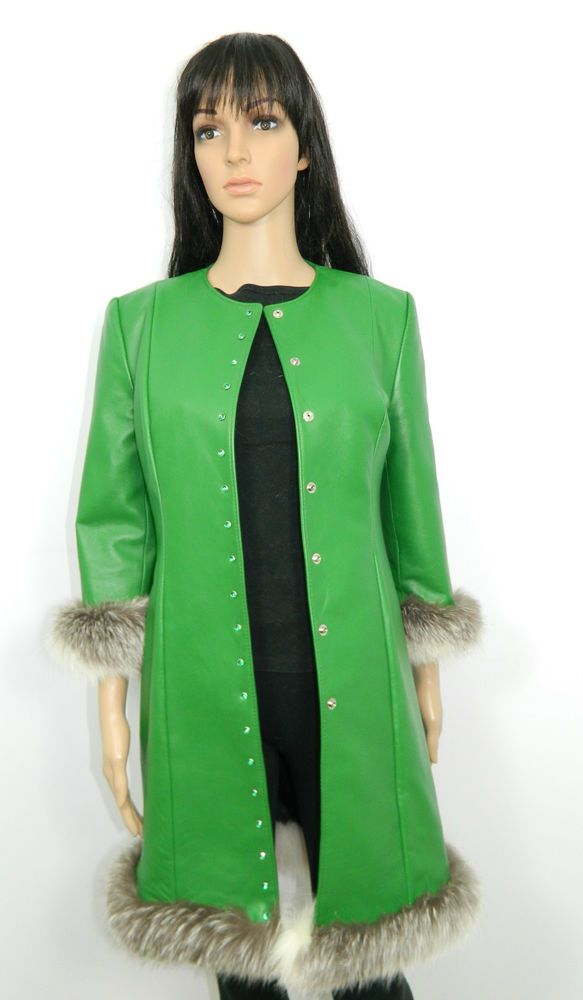 NWT GREEN LEATHER COAT WHITE CROSS FOX FUR TRIM GREEN CRYSTAL SNAPS Sz.S #Furriermade #BasicCoat