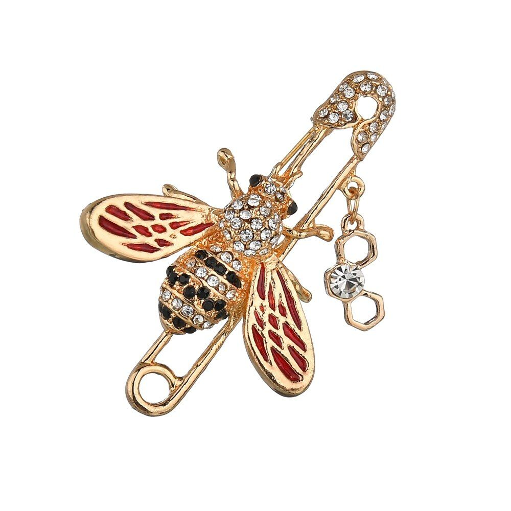 Jewby Fashionable Brooch Pins for Women Bouquet Flower Wedding Created Crystal Brooch Brown