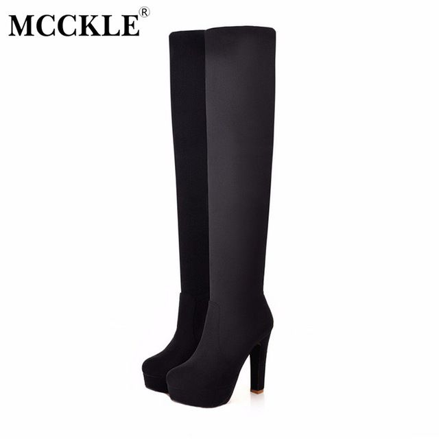 a1b64fec132 Meotina Women Boots High Heels Thigh High Boots Winter Sexy Over Knee Boots  Ladies Autumn Shoes ...