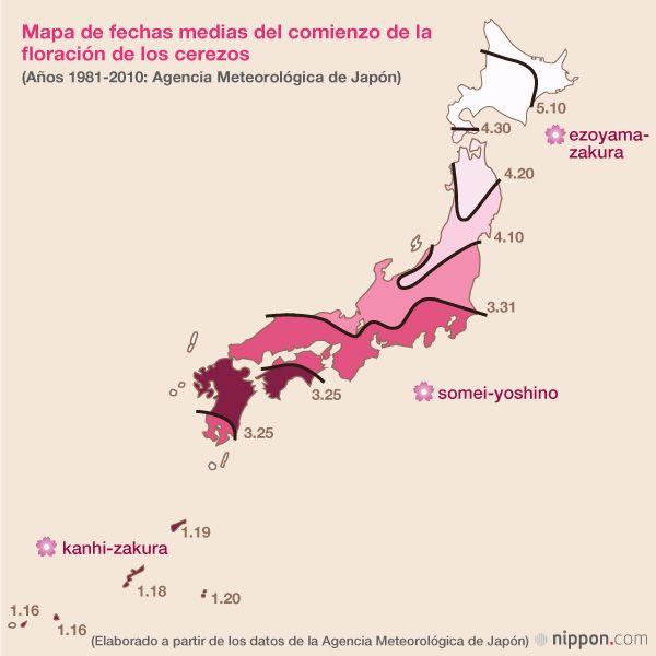 Desde los últimos días de marzo y durante dos meses Japón vive la época de la floración de los cerezos. En el siguiente artículo les presentamos 100 lugares famosos de todo Japón para contemplar los cerezos en flor, y mapas que indican cuándo suelen aparecer las primeras flores y en qué momento los cerezos alcanzan la plena floración.