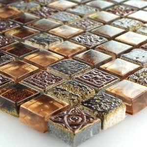Fliesen-Bord/üre Wandfliesen Ideal f/ür die K/üche und Badezimmer auch als Muster erh/ältlich Glas Mosaikfliese Crystal Gold Struktur Glasmosaik Mosaik-Fliesen