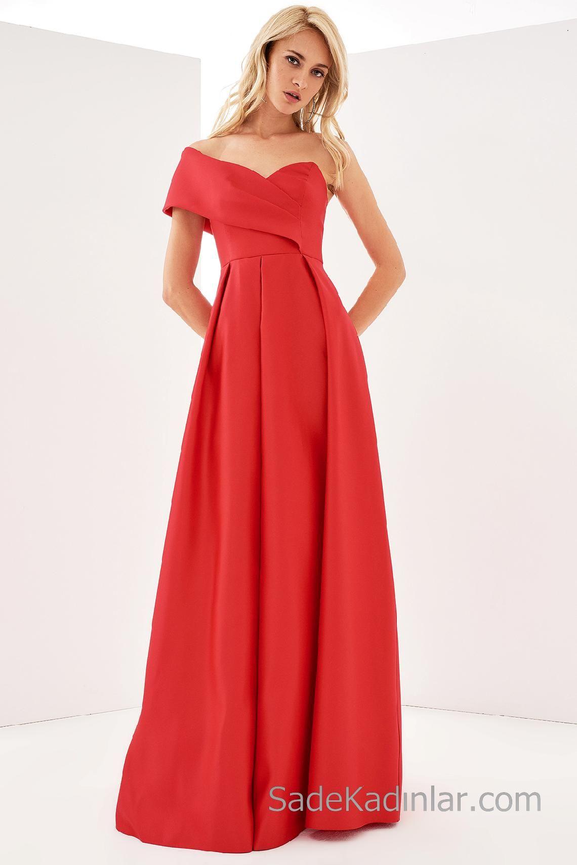 2020 Abiye Elbiseler Kirmizi Tek Omzu Acik Kalp Yaka Elbiseler Elbise Elbise Modelleri