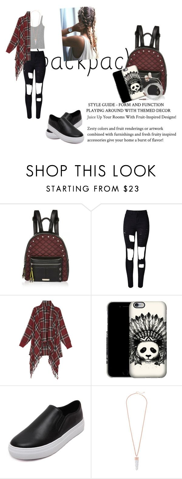 """""""B2S …✌"""" by stanciuandra ❤ liked on Polyvore featuring River Island, WithChic, Kendra Scott, Nicole Miller, backpacks, contestentry and PVStyleInsiderContest"""