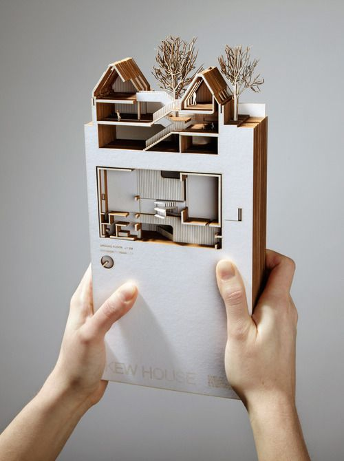 Representing a section through book form is an awesome way to let the client flip through the different sections of their home. I think this is a pretty genius idea and, with a laser cutter, would not be that hard to make.
