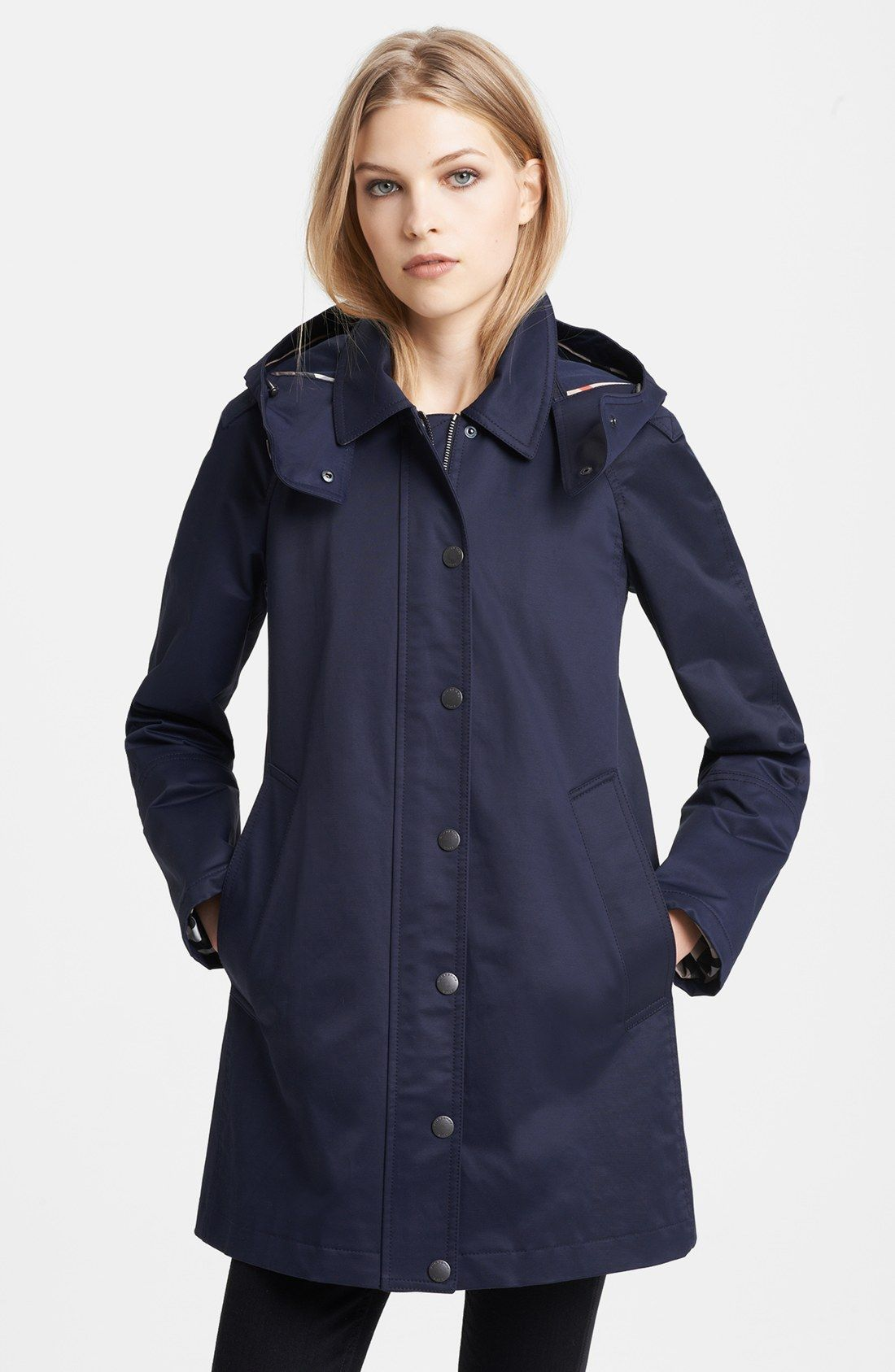 Knightsdale Short Hooded Trench Coat | Burberry brit, Raincoat and ...