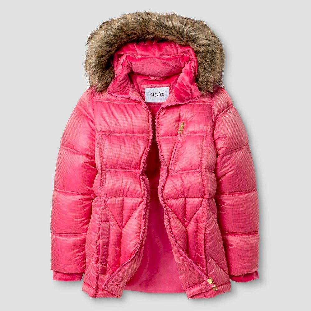 Girls' Stevies Puffer Jacket with Detachable Hood Coral Pink S, Girl's