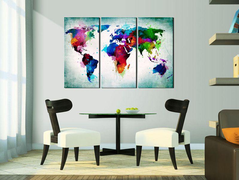 NOWOŚĆ! Obraz z korkiem 120x80 MAPA k-A-0006-p-h - artgeist - Wydruki na płótnie #mapa #obraz #dekoracja #prezent