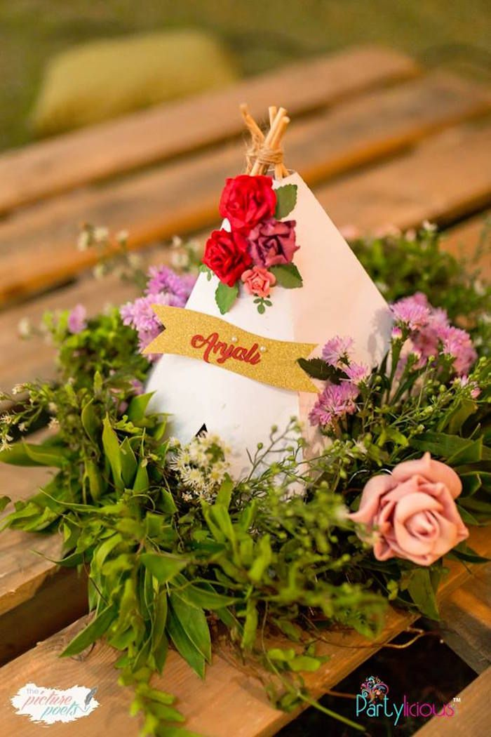 Teepee bloom table centerpiece from  boho vintage st birthday party on kara   ideas also home entertaining rh pinterest