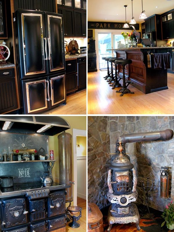 Steampunk kitchen idea 2 looove that fridge and stove for Kitchen designs steampunk