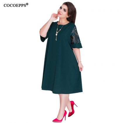 4a3d29fe98c Loose Lace Summer Dresses Knee-Length Office Dress  Loose  Lace  Summer   Dresses  Big  Size  women  Knee Length  office  dress  vintage  vestidos   L 6XL ...