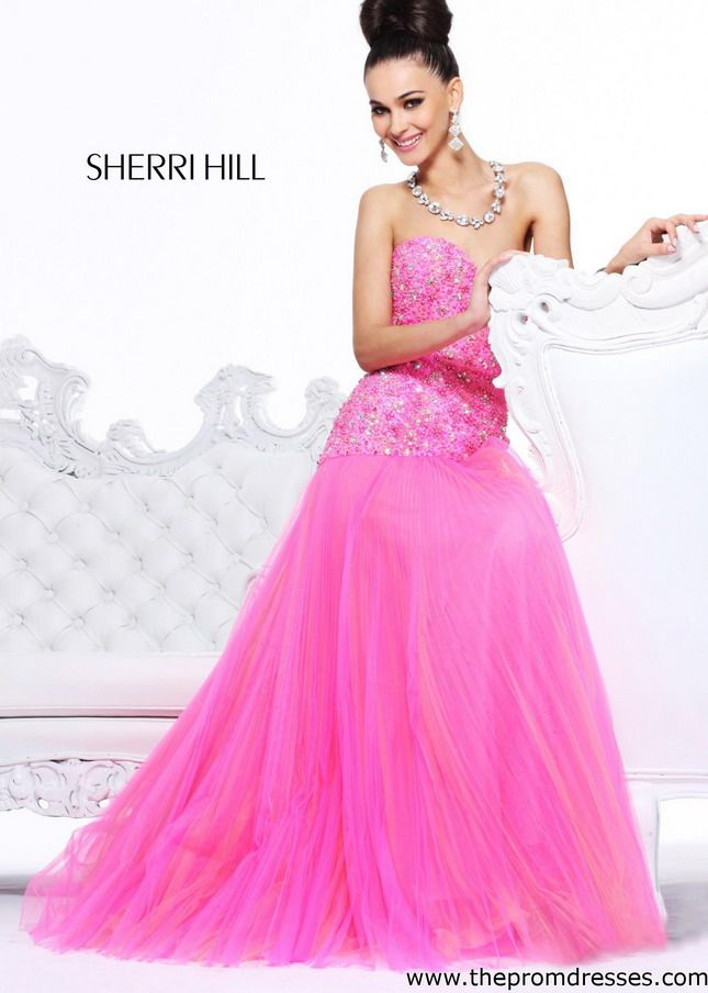Hot Pink Strapless Tulle Beaded Mermaid Evening Gown 2014   Prom ...