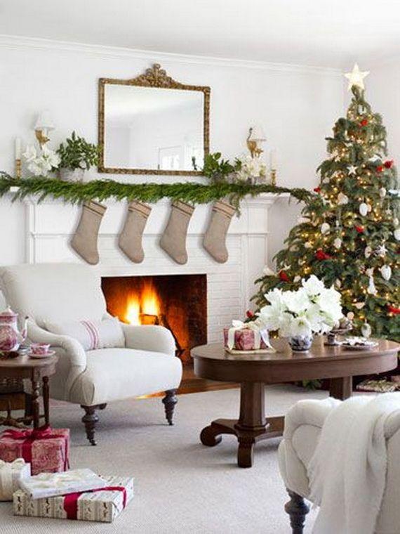 60 Elegant Christmas Country Living Room Decor Ideas | Christmas ...