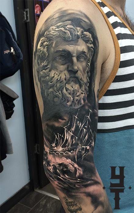 Nautical Tattoo Poseidon And Ship: Pin By Sharon Parrish On Tattoos