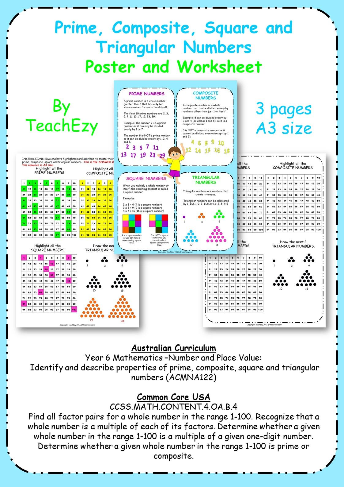 This Prime Composite Poster And Worksheet Contains A