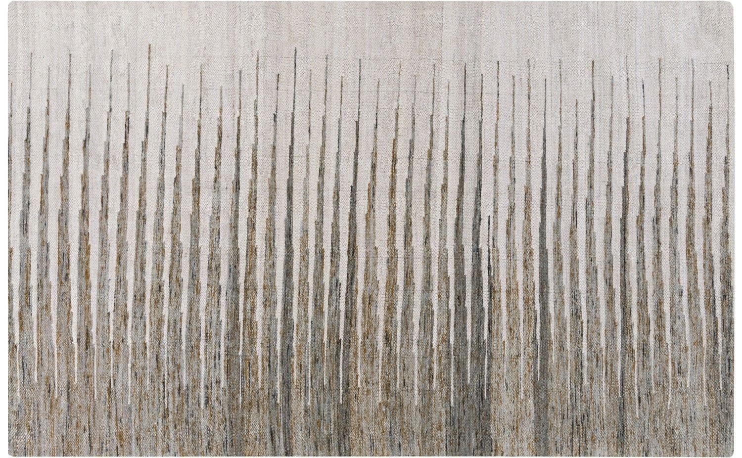 Our Azrou Rug is hand woven of lustrous recycled cotton. This flatweave rug features a gradient pattern of dark-to-light and wide-to-thin stripes of light grey and mocha, with a bit of rust and black mixed in here and there. The ground is ivory. As each rug is unique, slight variations in dyes and weave are to be expected.    •available sizes: 2' x 3', 2.5' x 8', 5' x 8' and 8' x 11'  •100% recycled cotton  •hand woven  •flatweave  •rug pad recommended  •slight variations in color and…