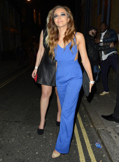 Jade Thirlwall looking beautiful in a bright blue jumpsuit and ...