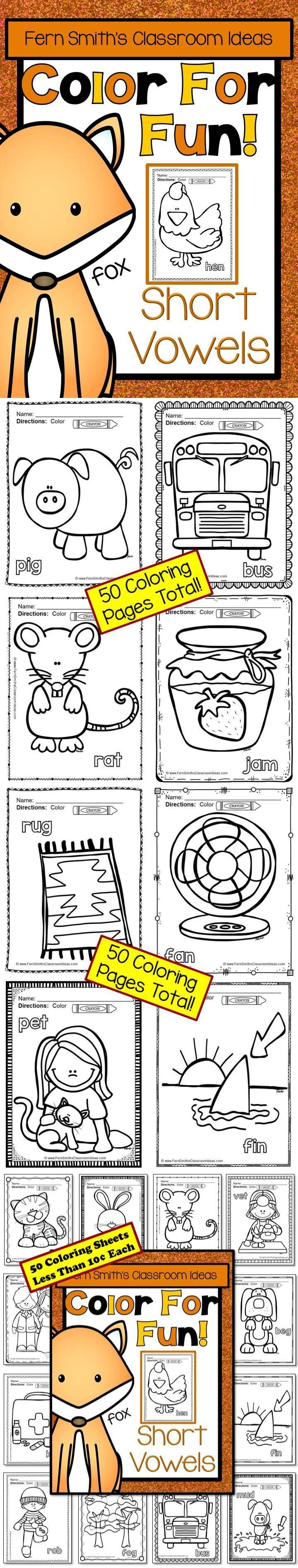 Coloring Pages for Short Vowels - 50 Pages of Short Vowel Coloring ...