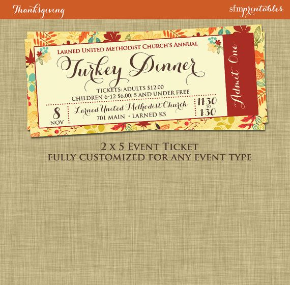 Fundraiser Invitation Templates Fall Turkey Dinner Event Ticket Harvest Thanksgiving Invitation .