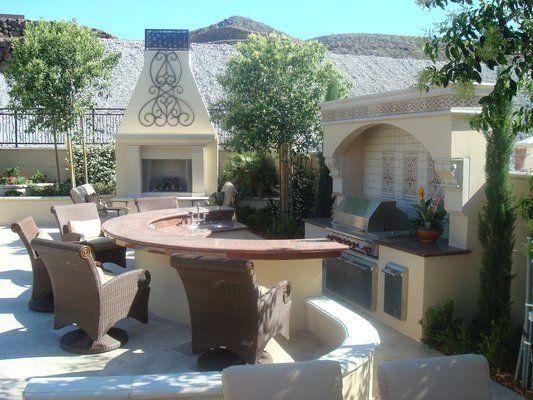 Tuscan Outdoor Kitchen With Semi Circular Bar Counter Dream Home