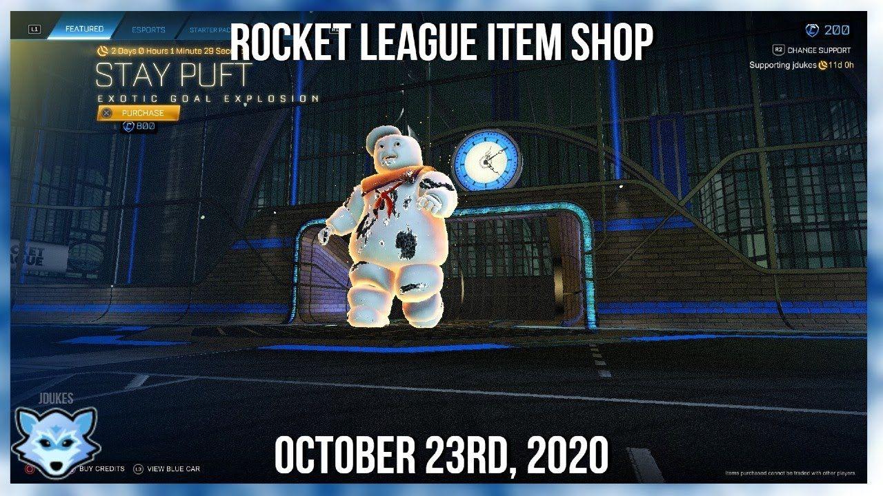 Rocket League Item Shop Dlc Stay Puft Goal Explosion Is Back October 23rd 2020 Rocket League League Explosion