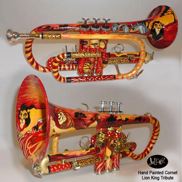 Juleez Custom Trumpets, hand painted custom cornets, painted