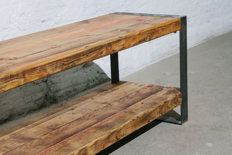 Sideboard aus Recycling Holz mit Stahlgestell | TV Möbel, Recycling ...