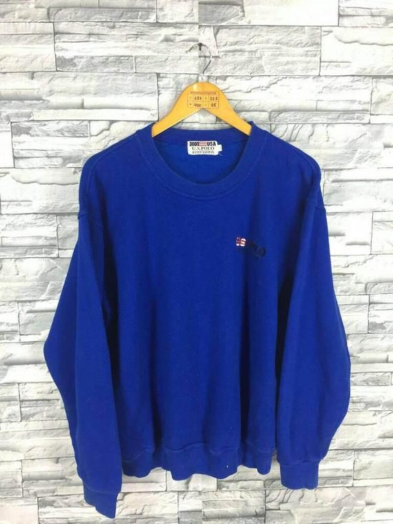 fb06aae2f9 Vintage 90 s USA POLO Sport Sweater Jumper Large Us Polo Association  Pullover Streetwear Blue Polo S