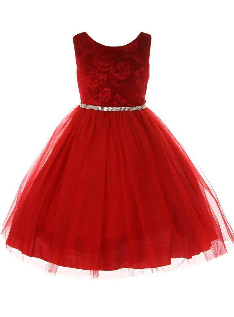 1cfbb92e51 Red Embossed Floral Velvet   Tulle Girls Holiday Dress KD454