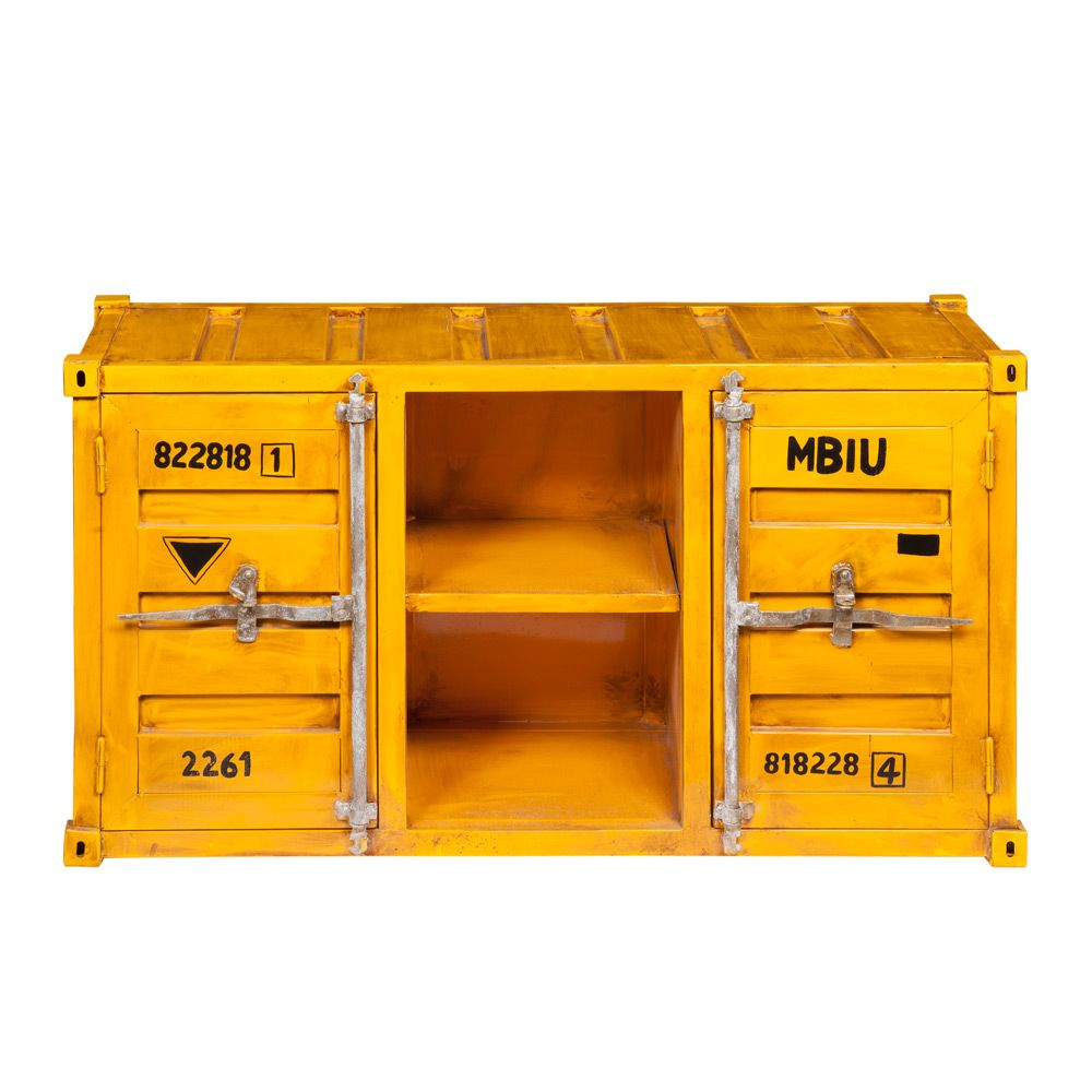 Meuble Tv Metal Jaune - Metal Container Tv Unit In Yellow W 129cm Meuble Tv Tv Et Jaune[mjhdah]https://www.drawer.fr/31512-thickbox_default/meuble-tv-design-bois-et-metal-ashburn-.jpg