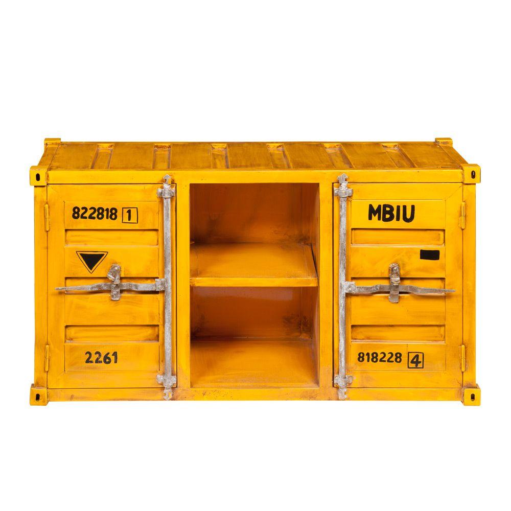 tv lowboard im container design aus metall b 129 cm gelb carlingue jetzt bestellen unter. Black Bedroom Furniture Sets. Home Design Ideas