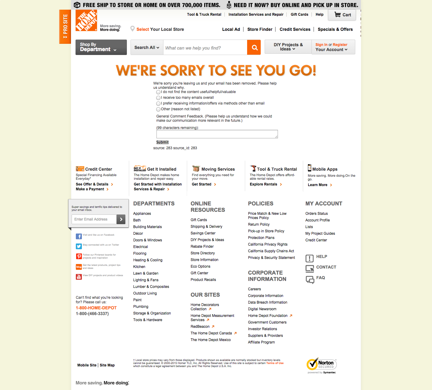 The Home Depot unsubscribe page Preferences, Home tools