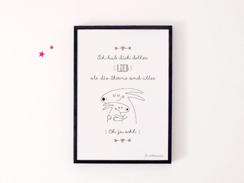 Wandgestaltung - Poster HAB DICH DOLLER LIEB - ein Designerstück von finelittlepaper bei DaWanda