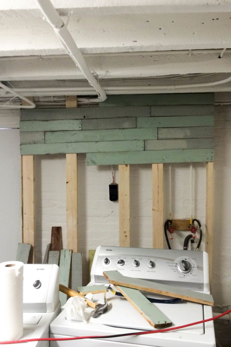 Photo of DIY Laundry Room Pallet Accent Wall