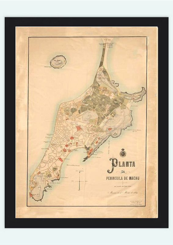 Old Map of Macau Macao 1885 China