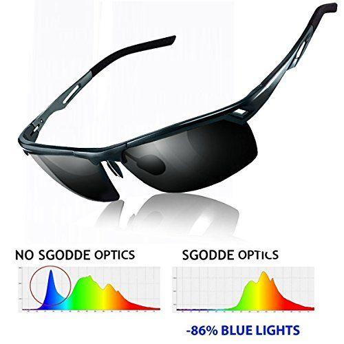 d2ea4c1eb2fa77 SGODDE Unisex Sportbrille Polarisiert Sonnenbrille Nacht Vision Blendschutz Brille  UV400-Schutz Fahrbrille Radbrille mit gelben