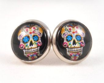 Sugar Skull Earrings For S Tween Jewelry Black Day Of The Dead Stud Women Kate