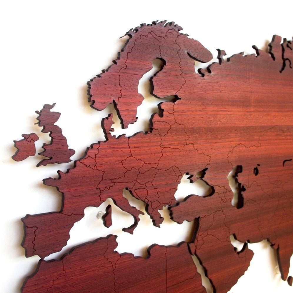 Wooden World Map 200 Bij 100 Cm Large Als Muurdecoratie